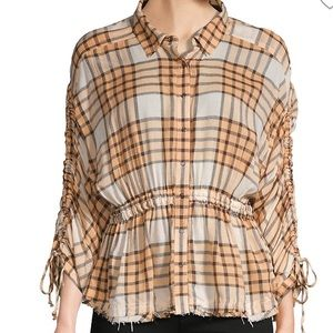 MWR FREE PEOPLE PACIFIC DAWN PLAID RUCHED SHIRT